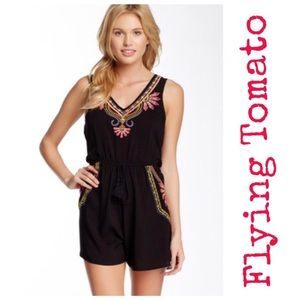 Flying Tomato Black Embroidered Sleeveless Romper